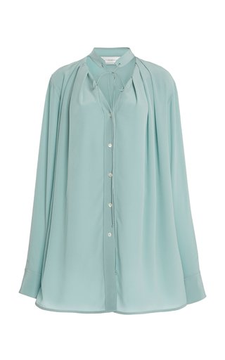 Pleated V-Neck Silk Blouse