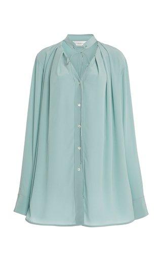 Pleated V-Neck Silk Blouse
