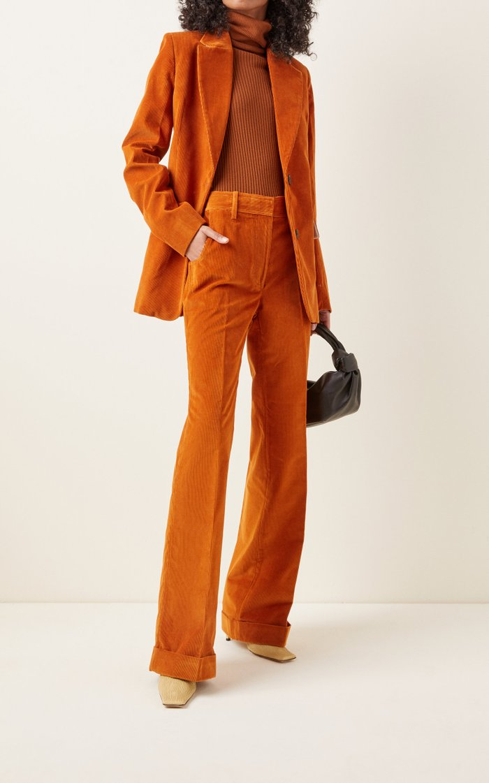 High-Rise Flared Corduroy Pants