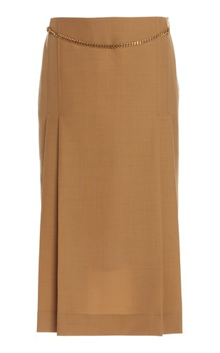 Chain Detailed Wool Midi Skirt