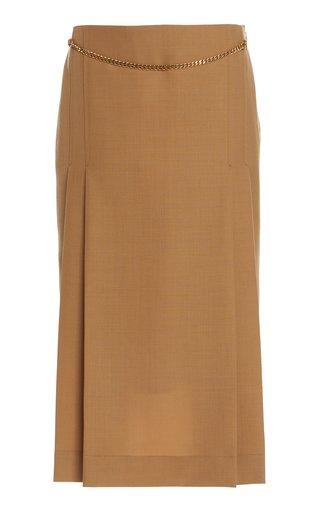 Chain Detailed Wool Midi Skirt