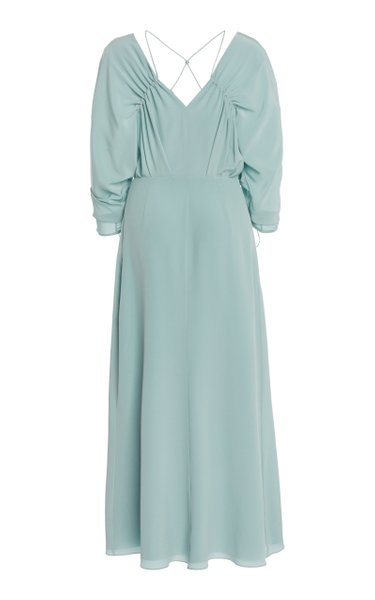 Ruched Silk Midi Dress