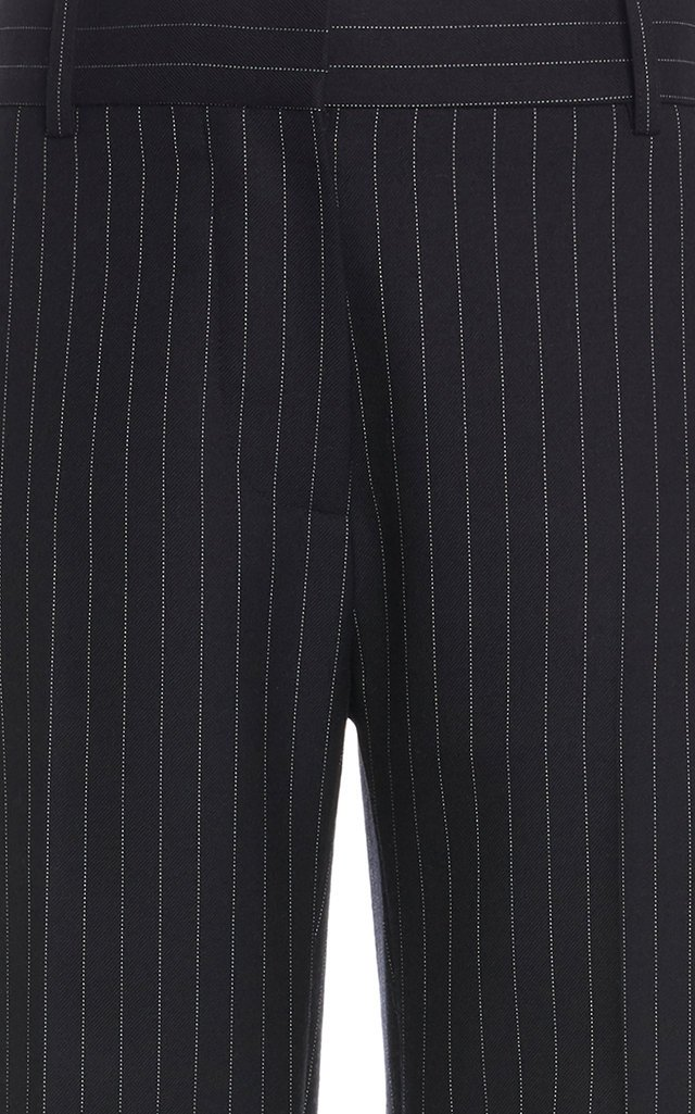 Pinstriped Flared Wool Pants