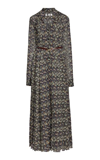 Printed Belted Silk Shirt Dress