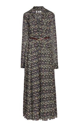 Printed Belted Silk Shirt Dress