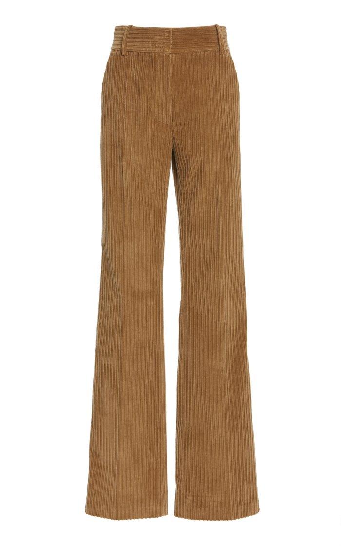 High-Rise Straight-Leg Corduroy Pants