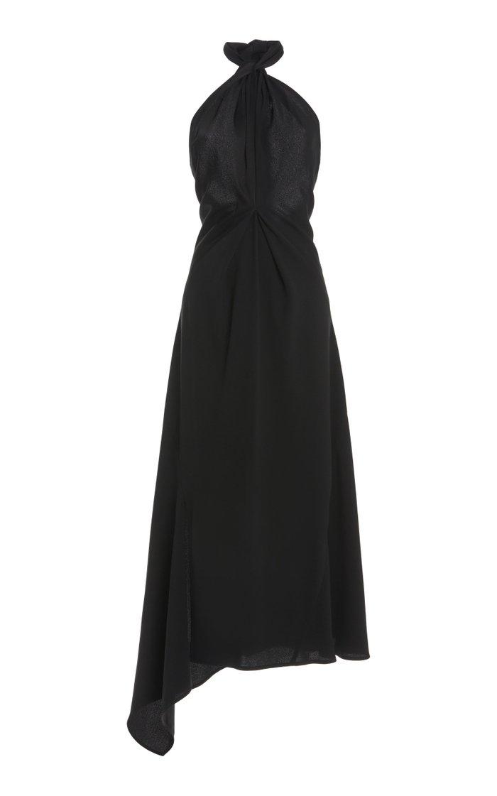Halter Neck Crepe Midi Dress