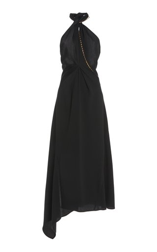Halter Neck Crepe Midi Dress