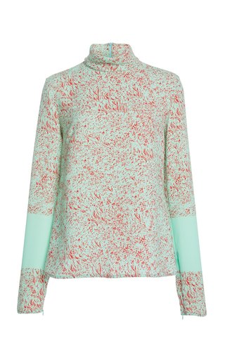 Printed Crepe De Chine Turtleneck Top