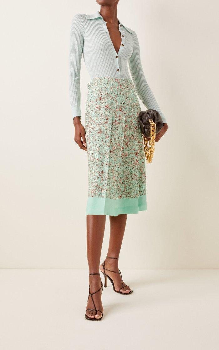 Two-Tone Crepe De Chine Skirt