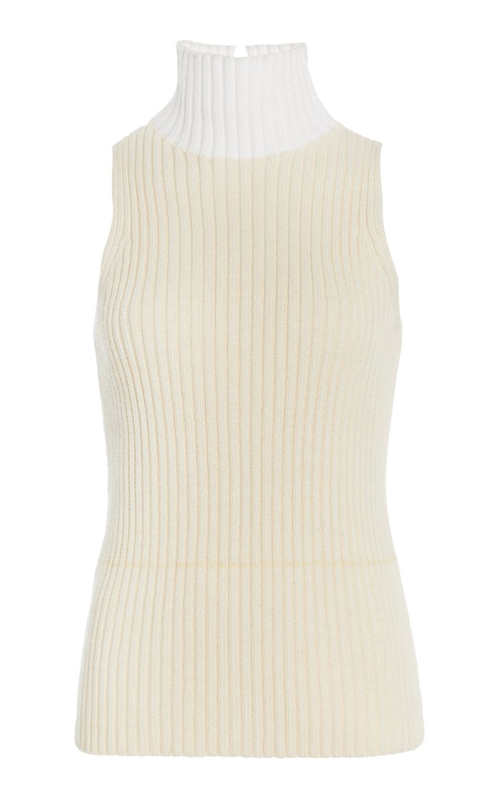 Mock Neck Cotton-Blend Ribbed Tank Top