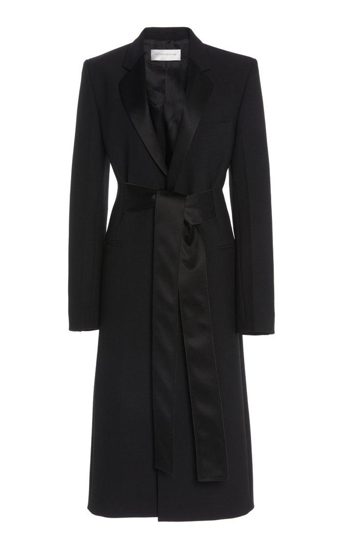 Tie Waist Tuxedo Coat