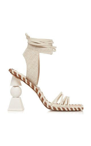 Les Valerie Hautes Linen And Leather Sandals