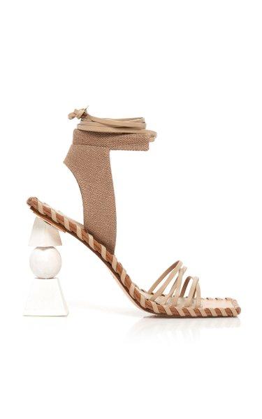 Les Valerie Hautes Linen And Leather Sandals