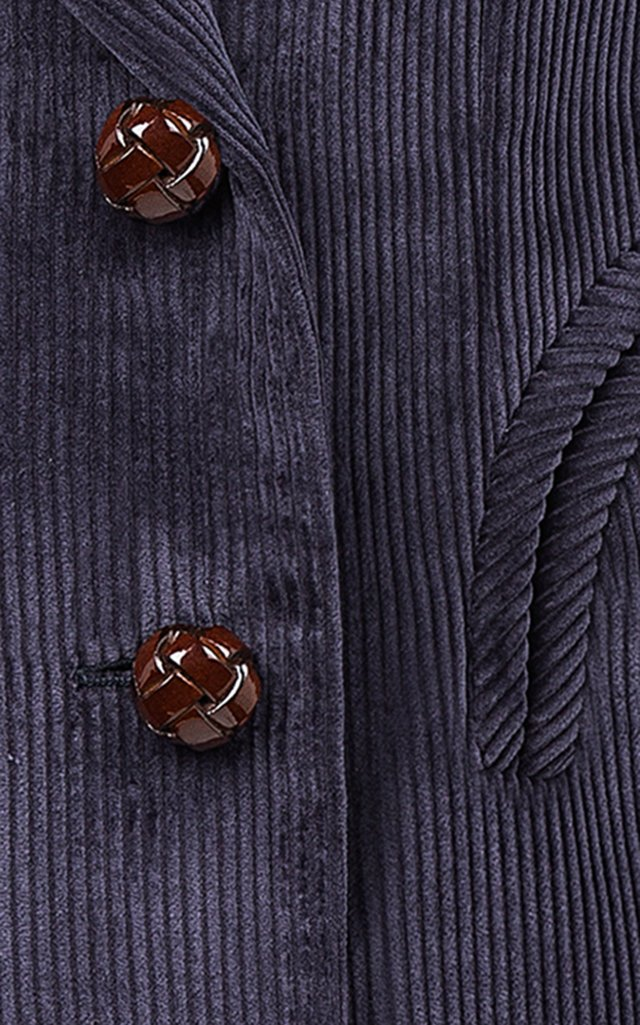 Classic Touch Charmer Double-Breasted Cotton Velvet Blazer