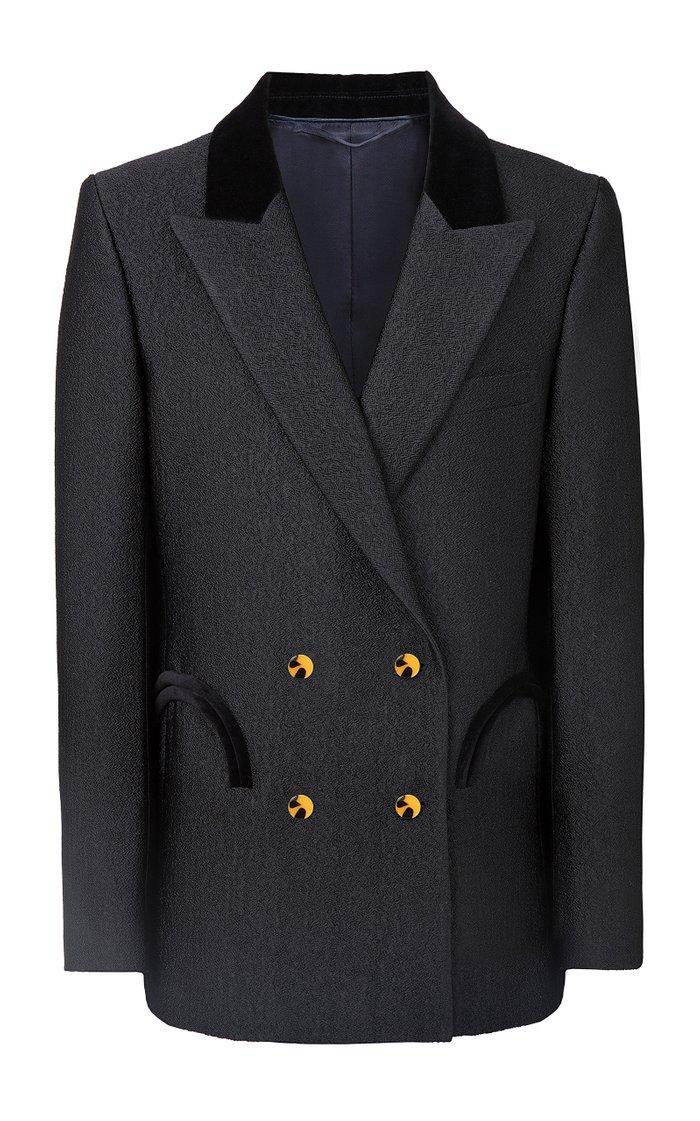 Starlight Everynight Velvet-Trimmed Woven Blazer Jacket