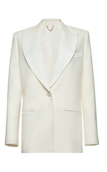 Shawl Collar Wool Silk Blazer