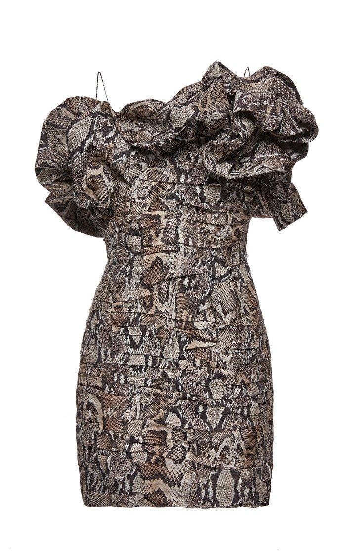 Ruffled Ruched Printed Silk Mini Dress