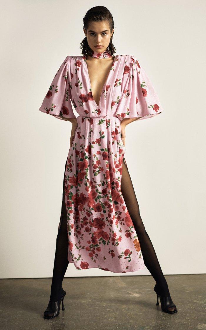 Tie-Detailed Fil Coupé Floral-Print Crepe Maxi Dress