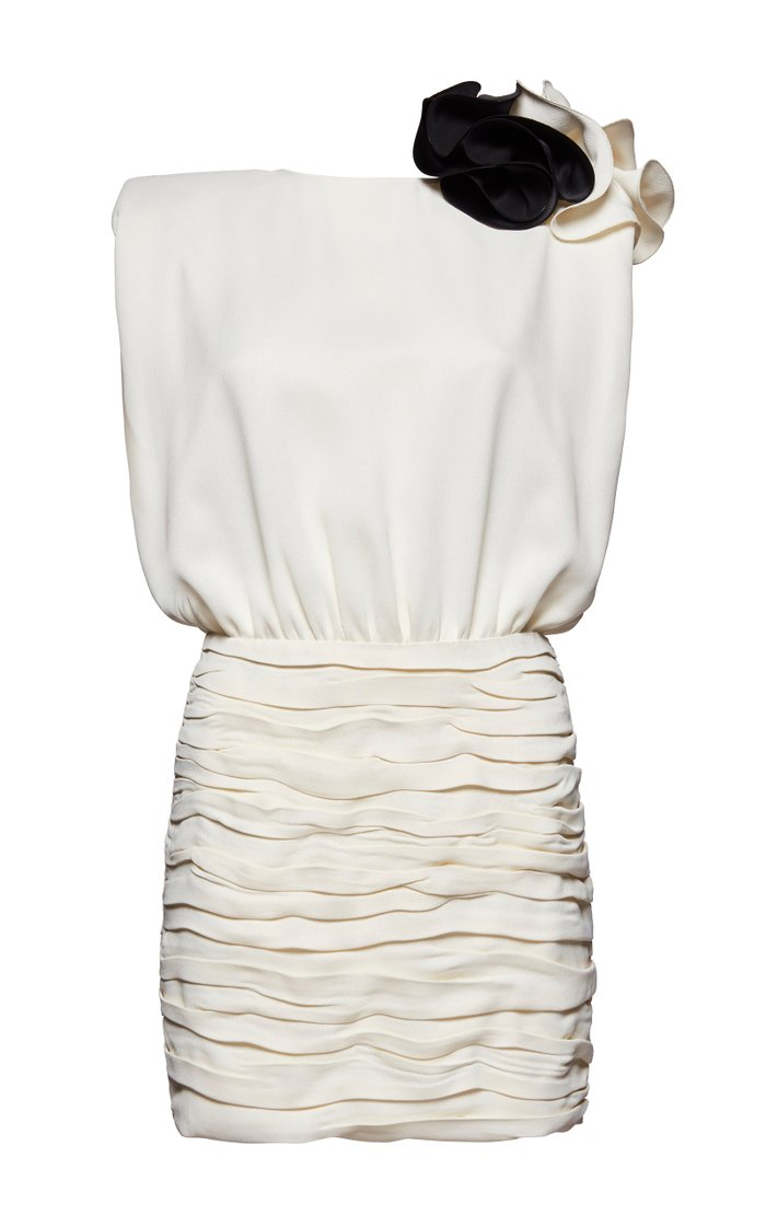 Embellished Ruffled Crepe De Chine Mini Dress