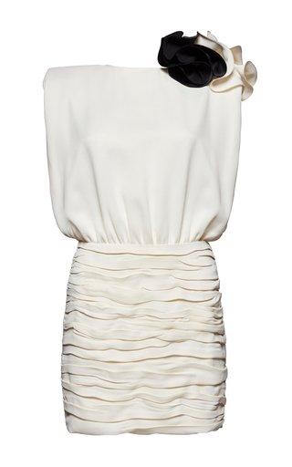 Embellished Ruffled Crepe De Chine Mini Dress