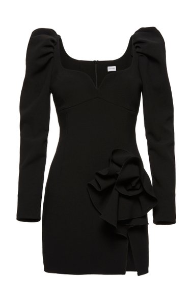 Embellished Stretch-Wool Mini Dress