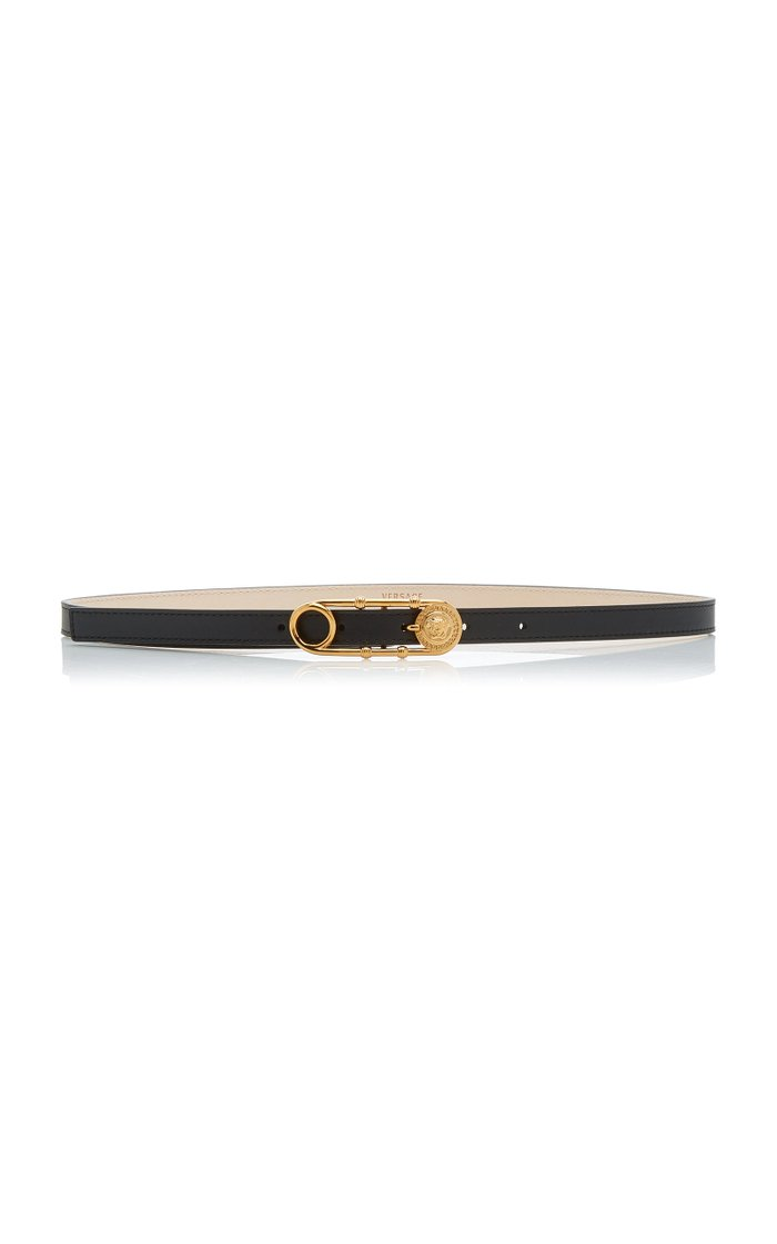 Safety-Pin Skinny Leather Belt