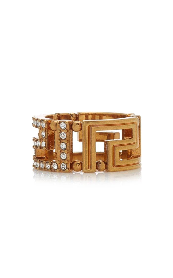 Crystal-Embellished Gold-Tone Ring