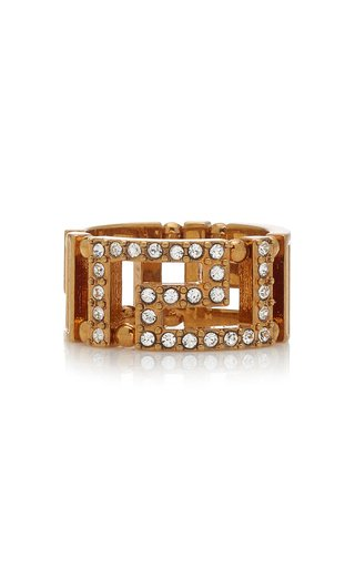 Crystal-Embellished Gold-Tone Ring