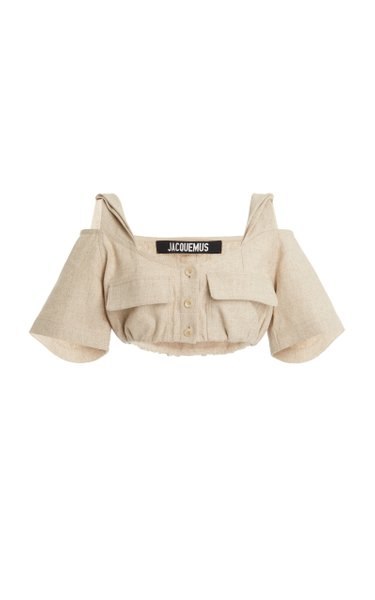 Alzou Cold-Shoulder Cropped Woven Top