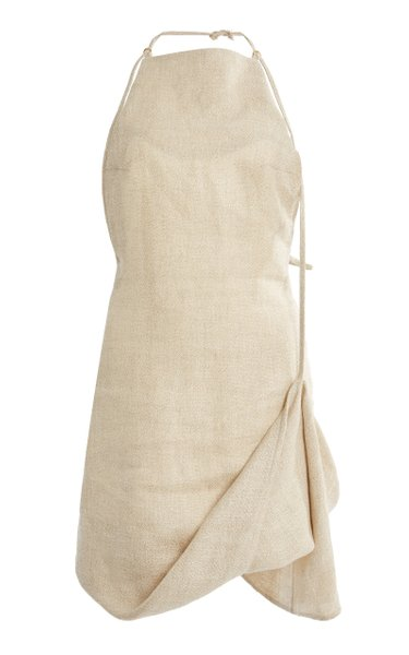 Figuerolles Draped Halterneck Linen-Blend Mini Dress