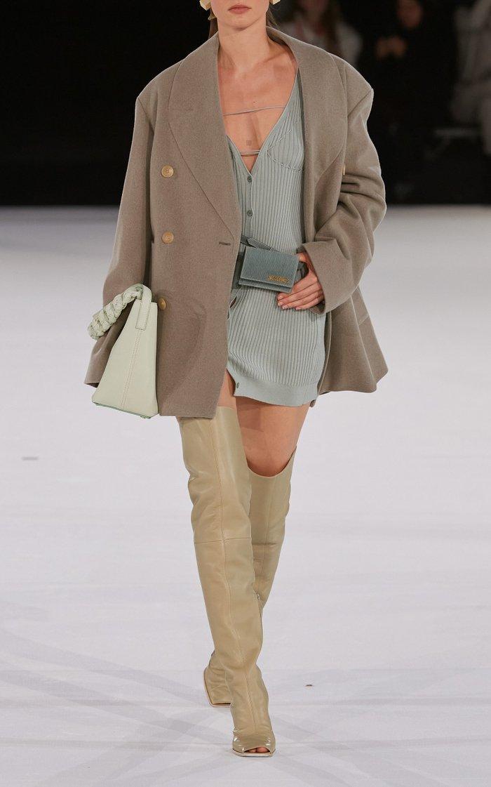Lauris Tie-Detailed Ribbed Wool Mini Dress