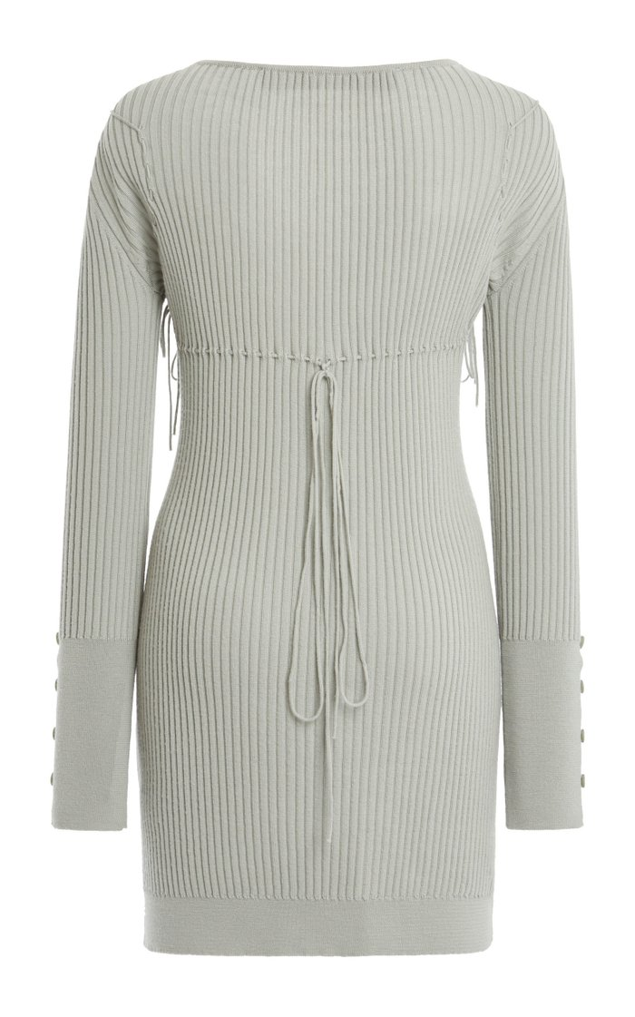 Lauris Tie-Detailed Ribbed Wool Mini Dress