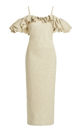 Pampelonne Ruffled Off-The-Shoulder Cotton-Blend Midi Dress
