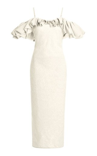 Pampelonne Ruffled Off-The-Shoulder Cotton-Blend Midi Dress
