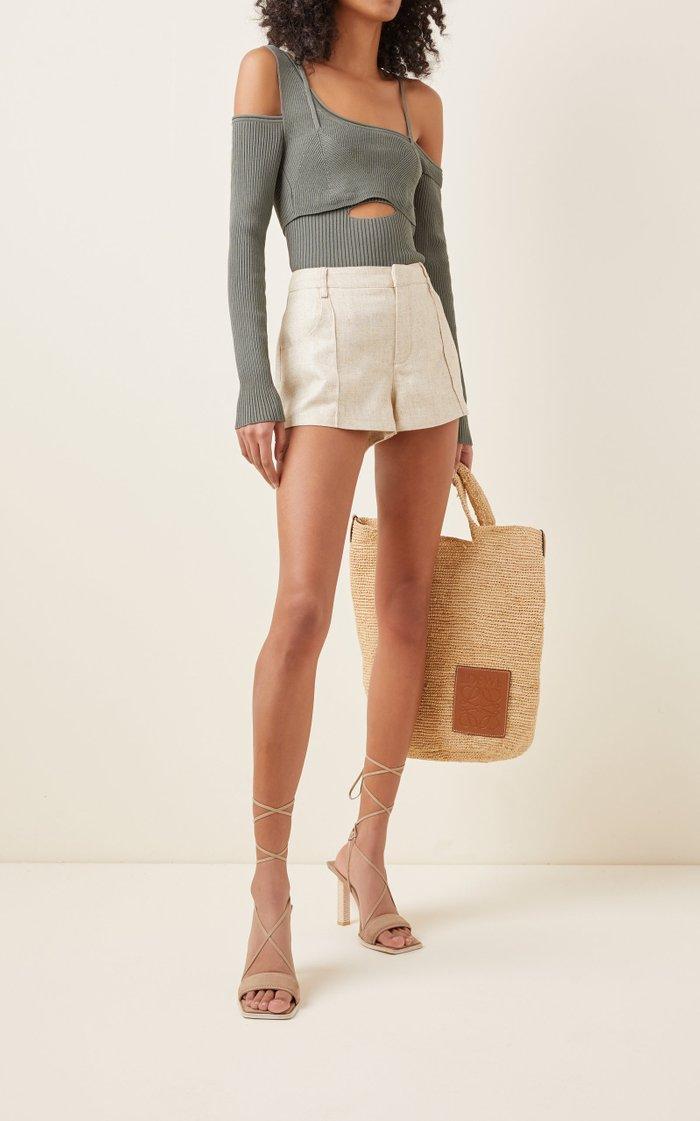 Figuerolles Cold-Shoulder Stretch-Knit Top