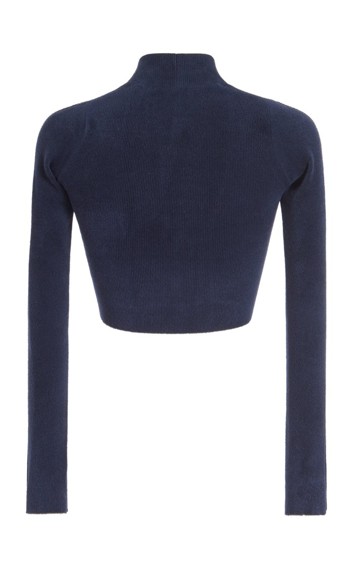 Cropped Brushed Stretch-Knit Cardigan