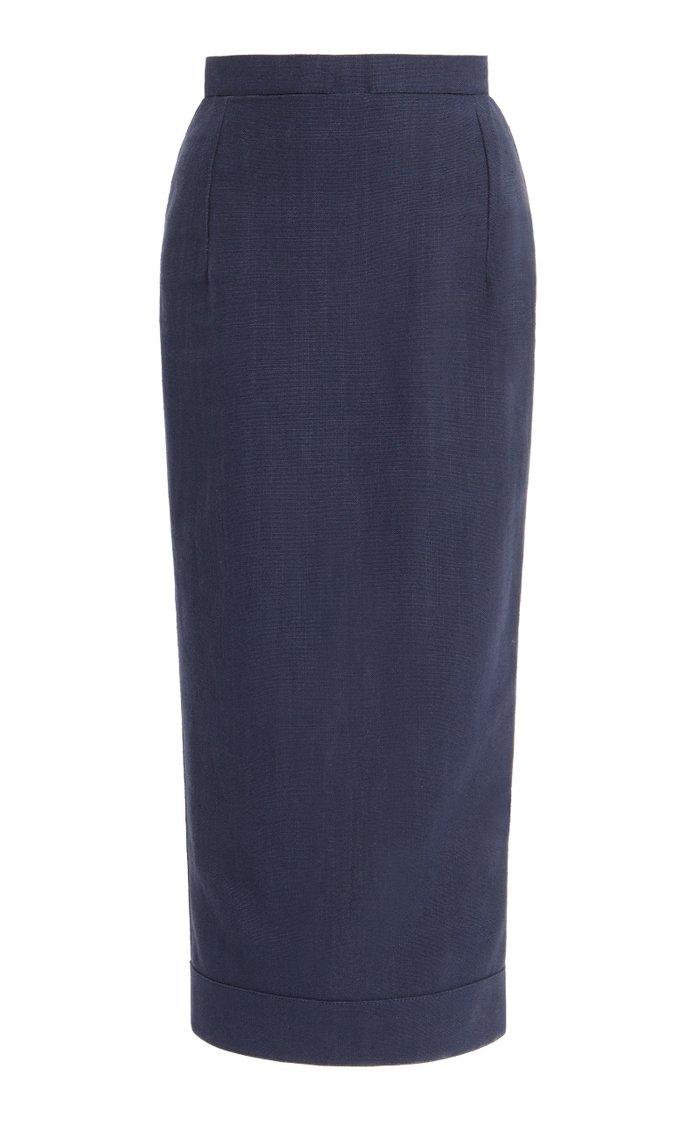 Valerie Cutout Linen-Blend High-Rise Midi Skirt