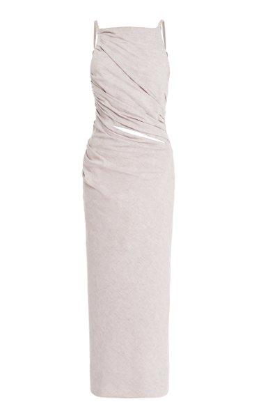Tendino Draped Cotton-Linen Midi Dress