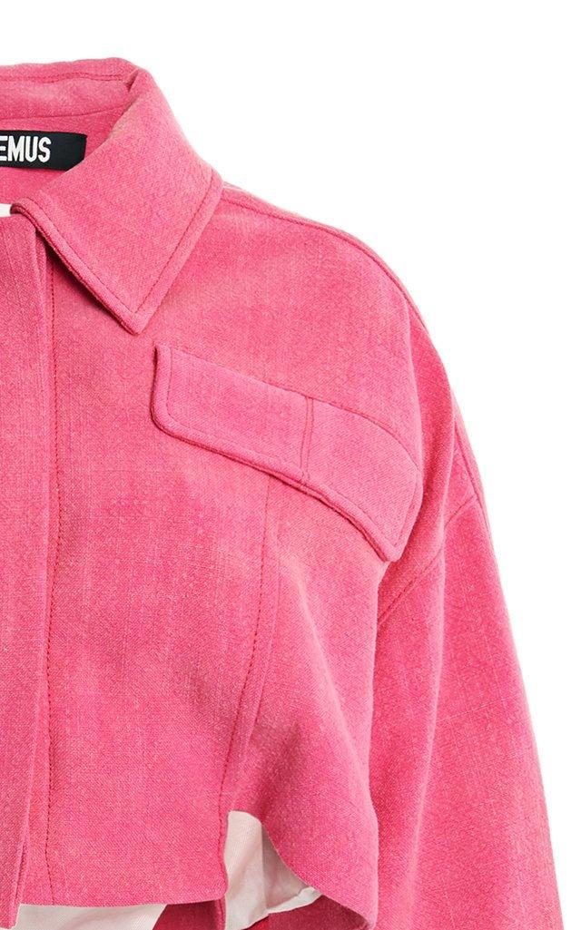 Esterel Oversized Linen-Blend Cropped Jacket