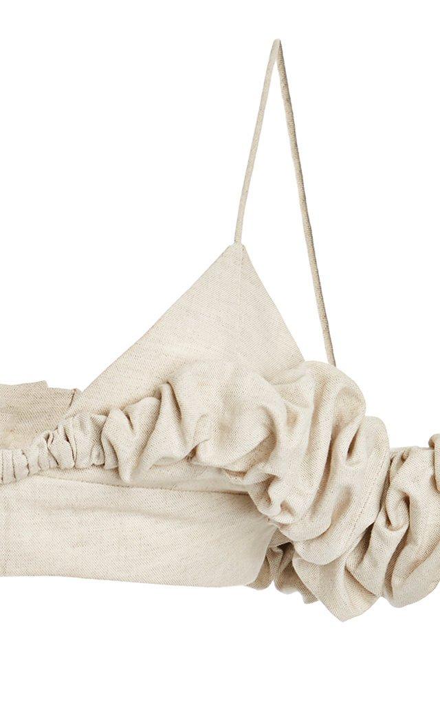 Pampelonne Ruffled Off-The-Shoulder Cotton-Blend Top