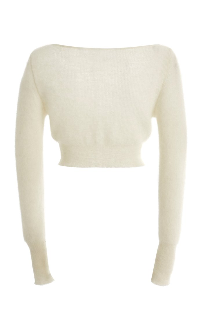 Alzou Cropped Mohair-Blend Cardigan