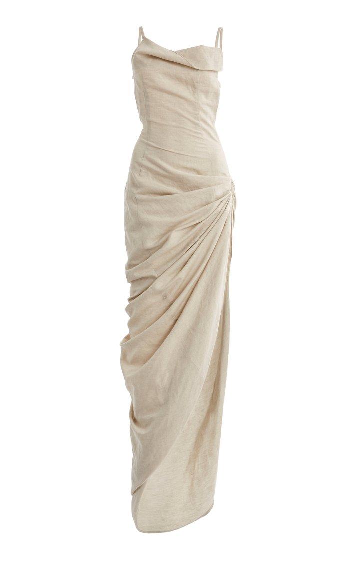 Saudade Gathered Cotton-Blend Maxi Dress