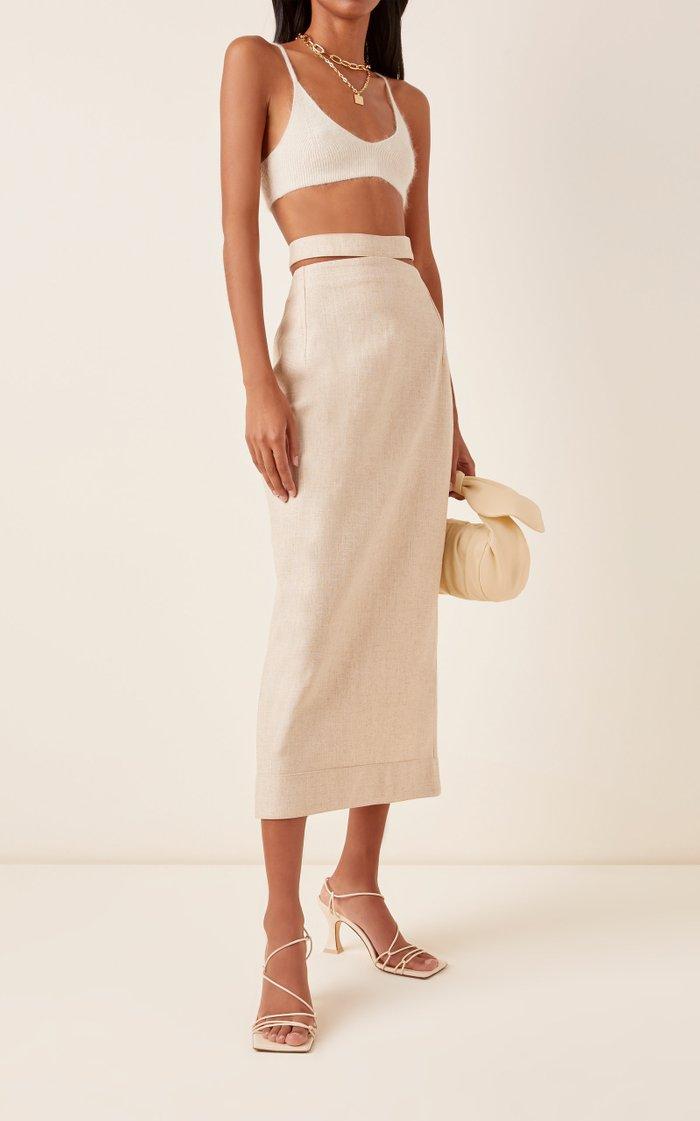Valerie Cutout Woven Pencil Skirt