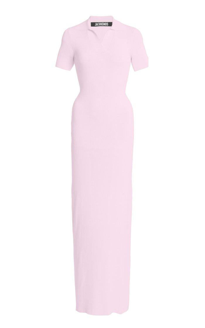 Ribbed-Knit Polo Maxi Dress
