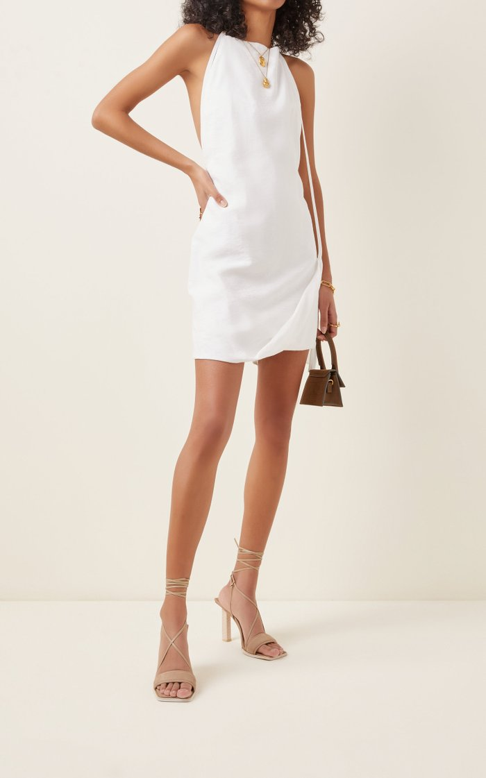 Figuerolles Draped Halterneck Crepe Mini Dress