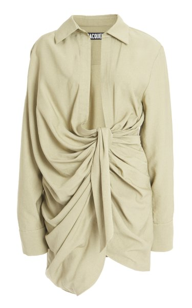 Bahia Draped Crepe Mini Shirt Dress