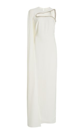 Arlette Crystal-Cutout Crepe Cape Gown