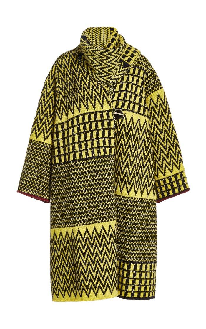 Zig-Zag Wool Cape Coat