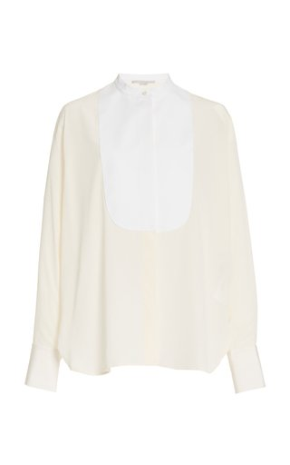 Leann Paneled Silk-Satin Shirt